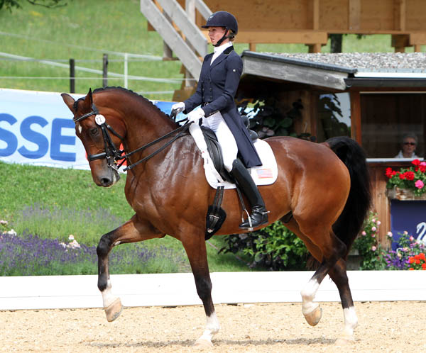 Laura Graves on Verdades competing in their first European competition inwhich they placed second. © 2014 Ken Braddick/dressage-news.com