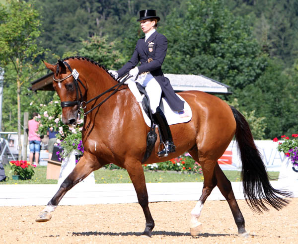 Lisa Wilcox and Denzello in the Schindlhof CDI4* Grand Prix Special producing a personal best result. © 2014 Ken Braddick/dressage-news.com