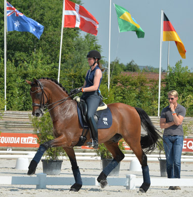 Lyndal Oatley on Sandro Boy being watched by her husband, Patrik Kittel of Sweden. © 2014 The Horse Magazine