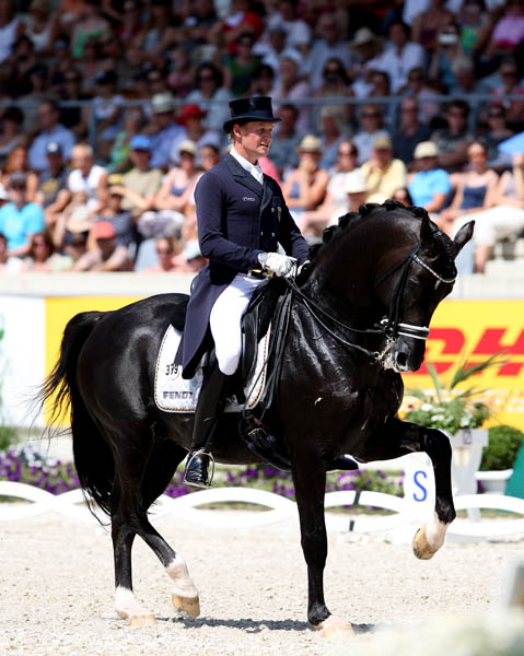 Totilas being ridden by Matthias Alexander Rath at the Aachen, Germany CDIO5* in July. © 2014 Ken Braddick/dressge-news.com