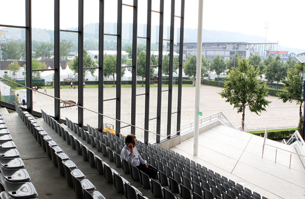 View from the new section overlooking the warmup arenas with the main stadium in the background. © 2014 Ken Braddick/dressage-news.com
