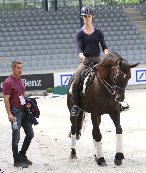 Robert Dover, U.S. team leader, working with Caroline Roffman on Her Highness O. © 2014 Ken Braddick/dressage-news.com