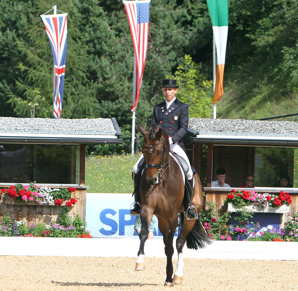 Steffen Peters rides Rosamunde to victory on the Fourth of July at the Schindlhof CDI4* at Fritzens, Austria, the only European competition for the pair. © 2014 Ken Braddick/dressage-news.com