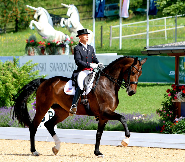 Steffen Peters riding Rosamunde in the only European competition for the pair in the summer. © 2014 Ken Braddick/dressage-news.com