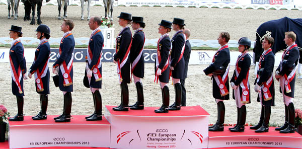 Will the 2014 World Equestrian Games team medals podium mirror that of the 2013 European Championships--Germany gold, Netherlands silver, Great Britain bronze? © Ken Braddick/dressage-news.com