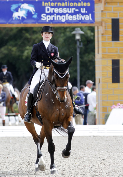 Belinda Trussell on Anton in the CDI3* Grand Prix at Verden, Germany. © 2014 Ken Braddick/dressage-news.com