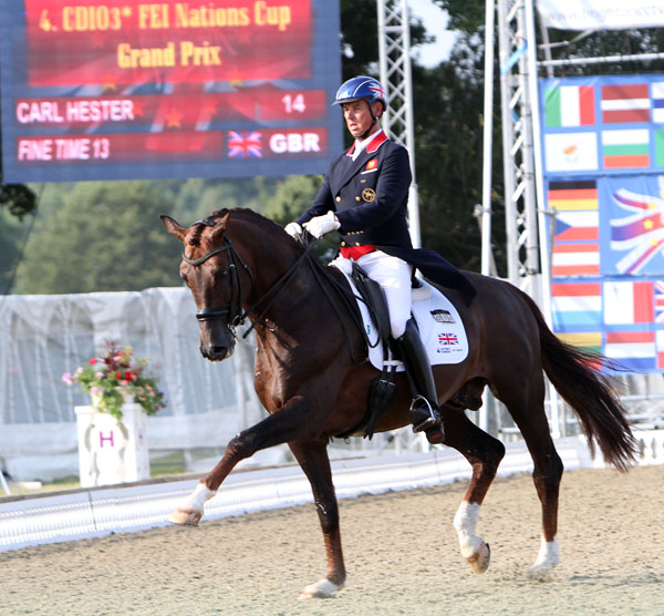 Carl Hester on Fine Time riding to personal best Grand Prix score to take Britain to lead after first phase of Hickstead Nations Cup. © 214 Ken Braddick/dressage-news.com