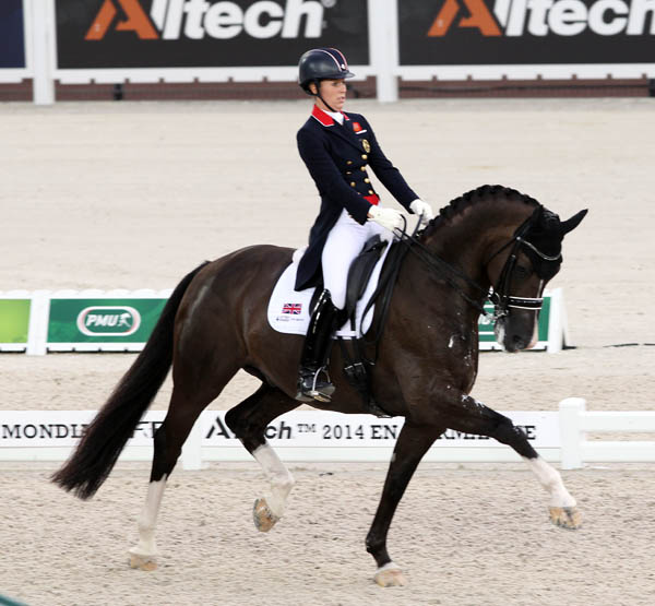 Charlotte Dujardin on Valegro in their World Games Grand Prix that led Great Britain to a team silver medal. © 2014 Ken Braddick/dressage-news.com