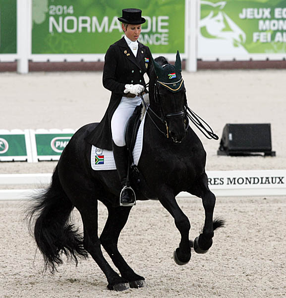 Chere Burger riding Adelprag Anders for South Africa in the Grand Prix. © 2014 Ken Braddick/dressage-news.com