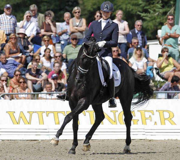 Gerdine Maree riding Dream Boy in the six-year-old qualifier. © 2014 Ken Braddick/dressage-news.com