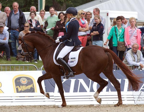 Eyecatcher being ridden by Kirsten Brouwer to third place. © 2014 Ken Braddick/dressage-news.com