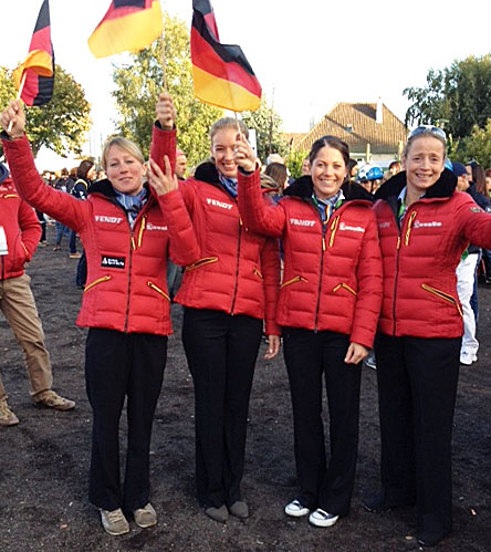 The German team of Helen Langehanenberg, Fabienne Lütkemeier, Kristina Sprehe and Isabell Werth at the World Equestrian Games in Normandy.