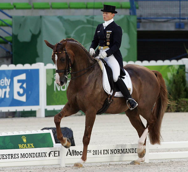 Isabell Werth on Bella Rose led Germany to World Equestrian Games team gold medal in 2014. © Ken Braddick/dressage-news.com