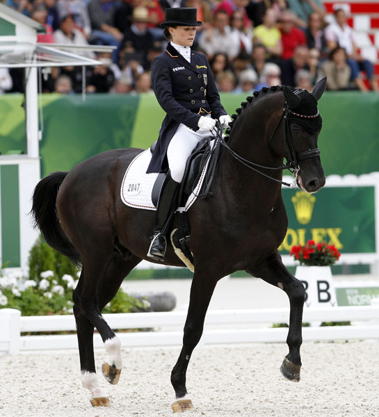 Krsitina Sprehe on her London Olympic partner Desperados. © 2014 Ken Braddick/dressage-news.com