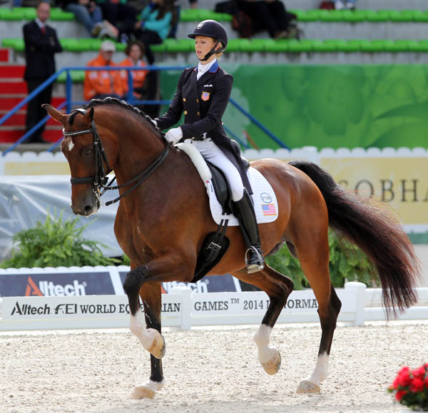 Verdades being ridden by Laura Graves in the Grand Prix at the World Equestrian Games. © 2014 Ken Braddick/dressage-news.com