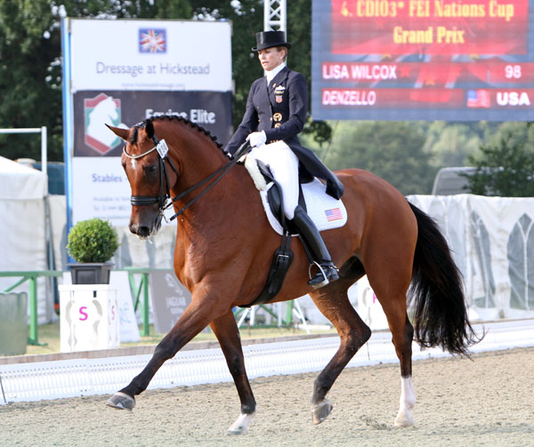 Lisa Wilcox riding Denzello in the Hickstead CDIO3* Nations Cup. © 2014 Ken Braddick/dressage-news.com
