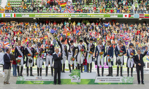 2014 World Equestrian Games teams of four from Germany (center) that won gold, Great Britain (left) silver and Netherlands (right). Dirk Caremans/hippofoto-FEI