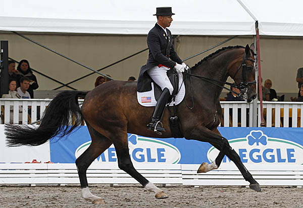 Steffen Peters riding Legolas to victory in the CDI3* Grand Prix at Verden, Germany, the first competition for the top ranked American pair since the rider came down with pneumonia. © 2014 Ken Braddick/dressage-news.com