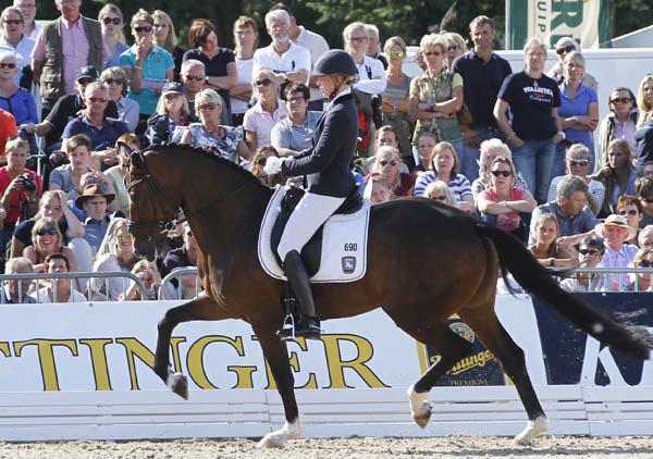 Samoura M ridden by Ann Christin Wienkamp to the silver medal at the World Young Horse Championships. © 2014 Ken Braddck/dressage-news.com