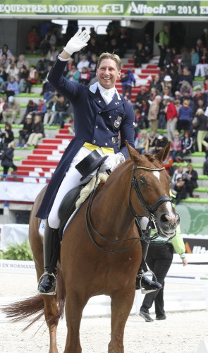 Patrick Kittel and Watermill Scandic of Sweden. Happy after a solid ride and a good score ©ilse schwarz dressage-news.com