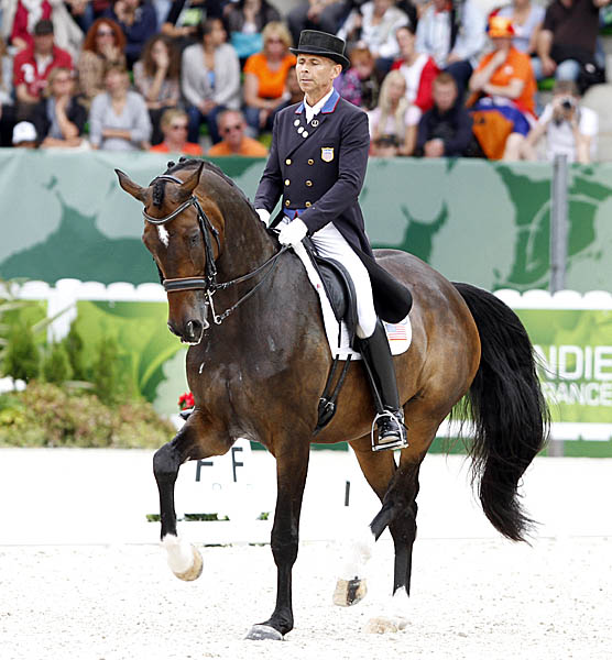 Steffen Peters on Legolas on the final centerline of the Grand Prix Special. © 2014 Ken Braddick/dressage-news.com