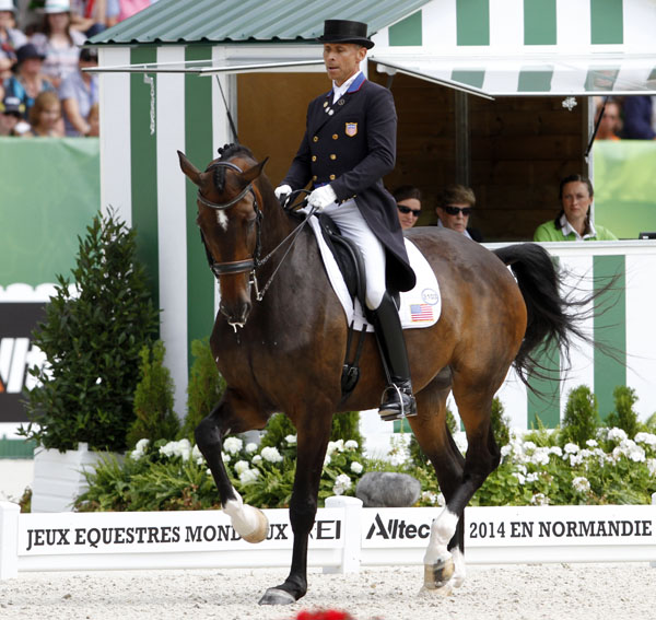 Steffen Peters on Legolas in the World Equestrian Games Grand Prix Freestyle. © 2014 Ken Braddikck/dressage-news.com