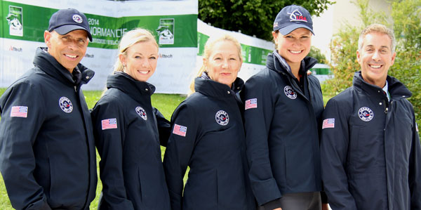 The United States dressage squad wearing their new team outfits. © 2014 Ken Braddick/dressage-news.com