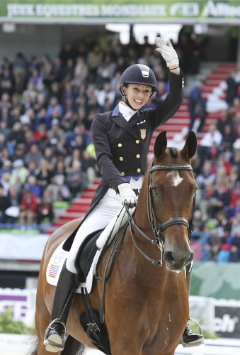 Laura Graves and Verdades, ecstatic after the Grand Prix at their first Championship © Ilse Schwarz dressage-news.com