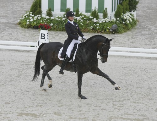 Adrienne Lyle and Wizard splash with confidence ©Ilse Schwarz dressage-news.com