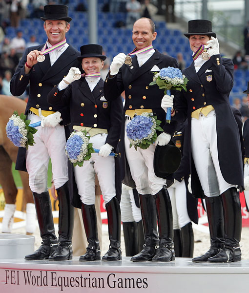 U.S. team of Günter Seidel, Debbie McDonald, Steffen Peters and Lelsie Morse at the World Equestrian Games in Aachen, Germany. © Ken Braddick/dressage-news.com