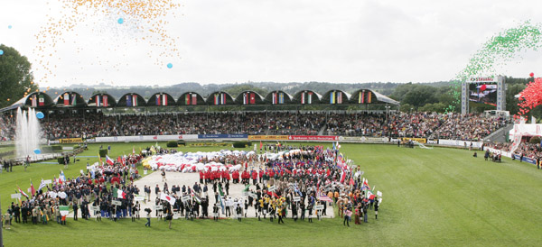 Dressage arena during opening ceremony of the 2006 World Equestrian Gamaes in Aachen, Germany that will be the stage for European Championshps dressage in 2015. ©Ken Braddck/dressage-news.com