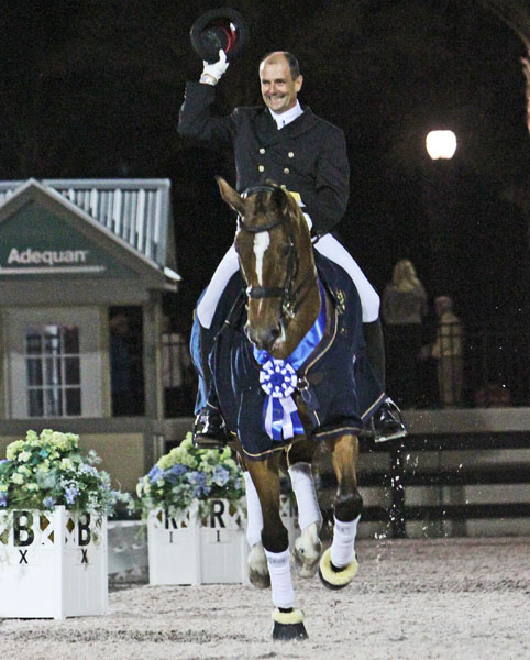 Lars Petersen of Denmark on Mariett who was the highest money winning combination on the 2014 Global Dressage Festival will be back for the 2015 circuit.  Ken Braddick/dressage-news.com