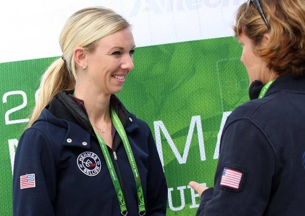 Laura Graves talking with Ilse Schwarz. © 2014 Ken Braddick/dressage-news.com