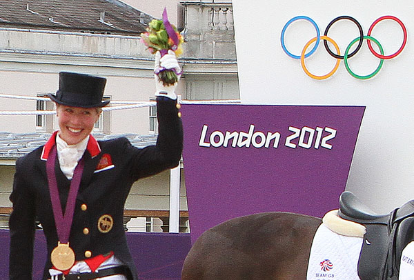 Laura Tomlinson wearing team gold medal at the Olympic Games in London in 2012. © Ken Braddick/dressage-news.com