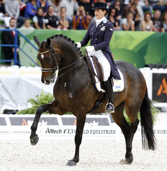 Tinne Vilhelmson-Silfvén on Don Auriello. © 2014 Ken Braddick/dressage-news.com