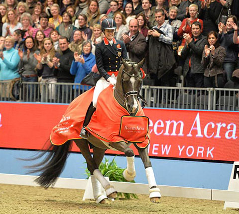 Charlotte Dujardin on Valegro after their victory at London Olympia in 2013.