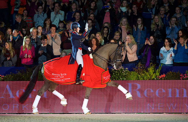 Great Britain's Charlotte Dujardin and Valegro, strutted to victory at the sixth leg of the World Cup Western European League in Amsterdam. © 2015FEI/Arnd Bronkhorst