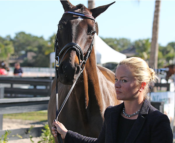 Devon Kane of the United States with Destiny. Her family's Diamante Farms is sponsoring the Global Dressage Festival CDI5* that is the world's biggest dressage prize money event in 2015. © 2015 Ken Braddick/dressage-news.com