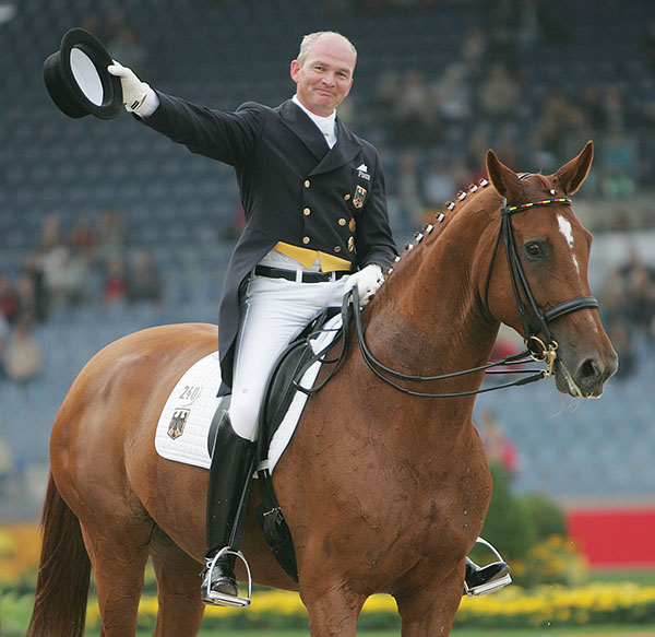 Hubertus Schmidt after riding Wansuela Suerte for Germany's gold medal team at the World Equestrian Games in Aachen, Germany in 2006. © Ken Braddick/dressage-news.com
