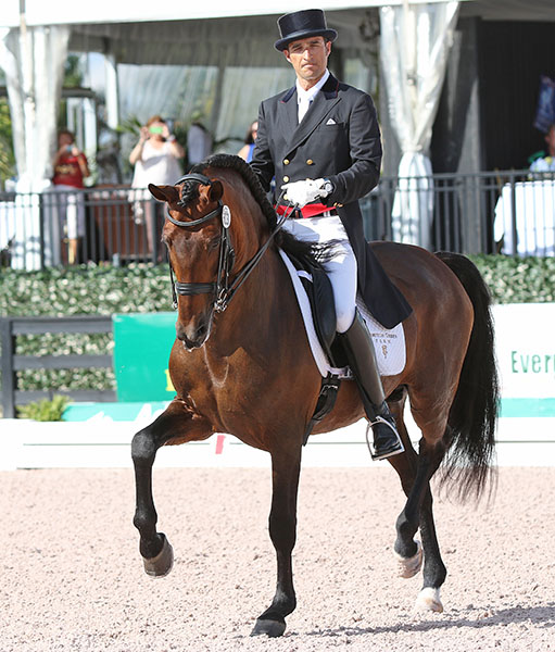 José Daniel Martín Dockx riding Grandioso in the first competition for the pair in the United States. © 2015 Ken Braddick/dressage-news.com