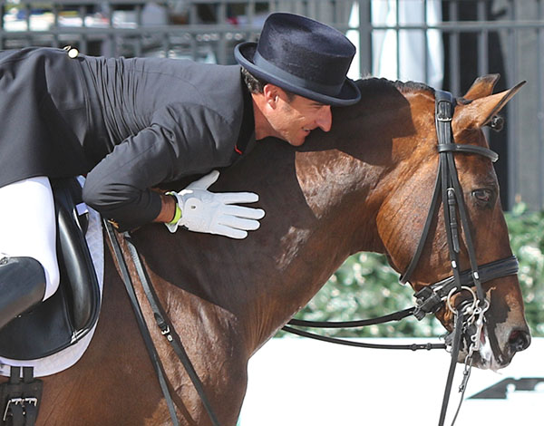 José Daniel Martín Dockx on Grandioso after the first American competition for the pair. © 2015 Ken Braddick/dressage-news.com