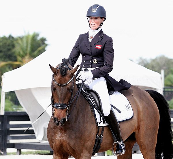 Katharina Stumpf of Austria, who has competed at the Adequan Global Dressage Festival since the inaugural event in 2012, will ride Nymphenburgs Love in the first ever international CDI Amateur dressage event. She is shown here at a warmup show. © 2015 Ken Braddick/dressage-news.com