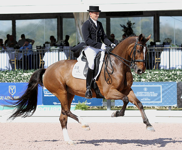 Lars Petersen riding Mariett to their second victory in three starts at the Adequan Global Dressage Festival in Wellington, Florida this year. © 2015 Ken Braddick/dressage-news.com
