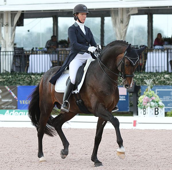 Sabine Schut-Kery and Sanceo leading the United States domination of the Prix St. Georges and Intermediate 1 at the Adequa; Global Dressage Festival World Cup event. © 2015 Ken Braddick/dressage-news.com
