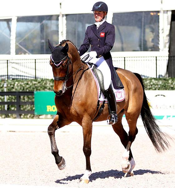Lara Griffith riding Rubin Al Asad in Wellington. © 2015 Ken Braddick/dressage-news.com