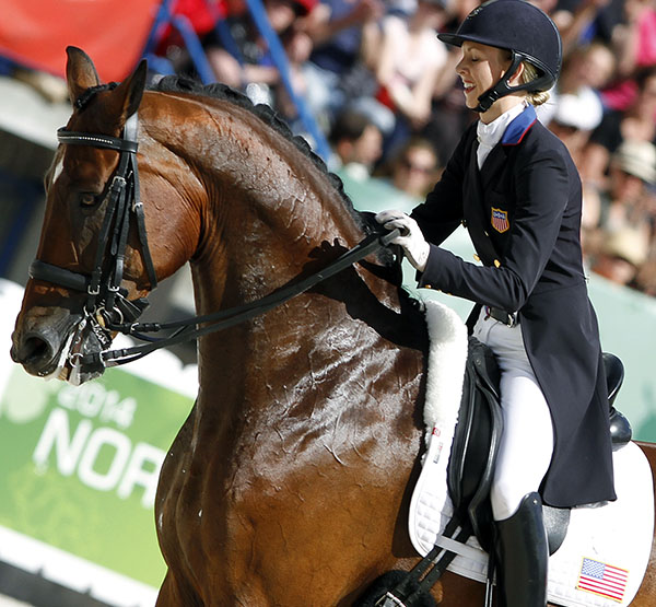 The look on the face of Laura Graves says it all after after riding Verdades in the World Games Freestyle in August, the last competition for the pair. © Ken Braddick/dressage-news.com