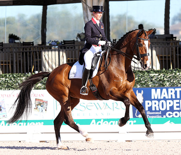 Laura Tomlinson. Olympic team gold medalist for Great Britain, riding Unique. © 2015 Ken Braddick/dressage-news.com