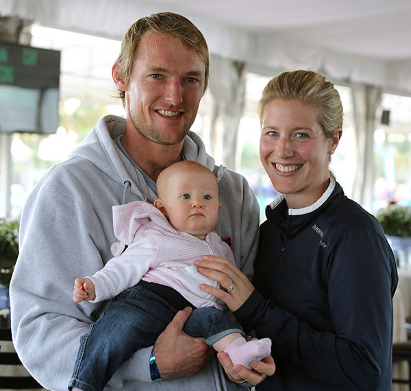 Laura and Mark Tomlinson with their baby Annalisa in Wellington. © 2015 Ken Braddick/dressage-news.com