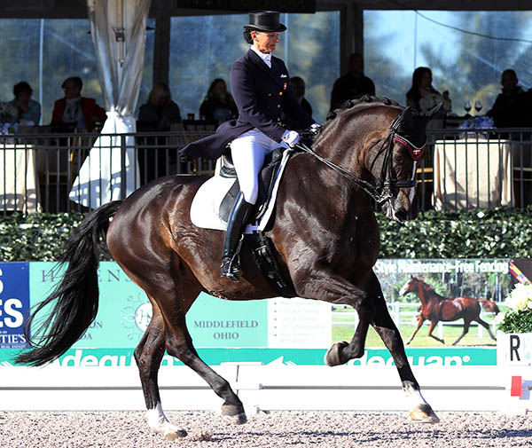 Mikala Gundersen riding My Lady to victory in the Wellington CDI4* Grand Prix. © 2015 Ken Braddick/dressage-news.com