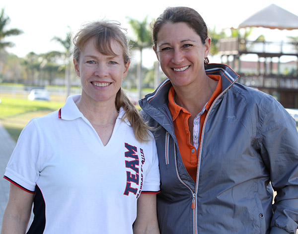 Rowan O'Riley, the new owner of Mane Strean Hotmail, and Catherine Haddad-Staller who will continue to ride the horse aiming for the American team for the 2016 Olympic Games. © 2015 Ken Braddick/dressage-news.com